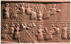 sumerians-drinking-beer-cylinder-seal